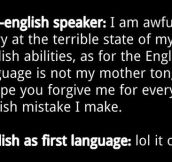 Non-English speakers vs. native speakers…