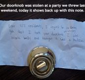 Lost doorknob returns…