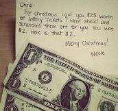 Lottery scratch tickets make good last minute Christmas gifts…