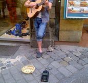 Clever street performer…