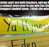 Strangest student name…