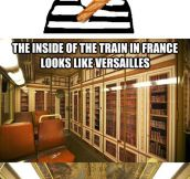 The inside of a train…