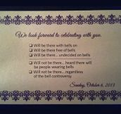 Wedding RSVP with bells on…