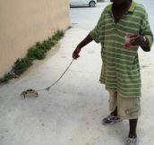 Just a man walking his crab