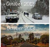 My town one year apart – Austrailments