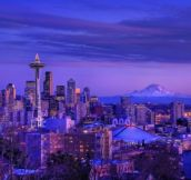 Winter in Seattle at dusk