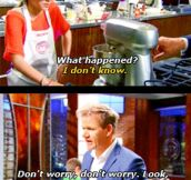 Gordon Ramsey helping a contestant that fell into a crisis…