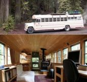 Old bus on the outside, cozy home on the inside…