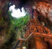 A temple deep in the Batu caves…