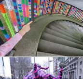 Massive yarn bombing in the city…