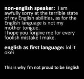 English speakers vs. non English speakers…