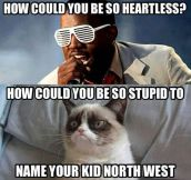Heartless grumpy cat…