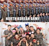 North vs. South Korean army…