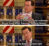 Steven Colbert sharing underwear secrets…
