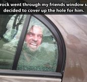 The most clever way to cover a window hole…