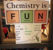 Found this amazing sign in my chemistry class…
