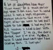 A daughter's confession…