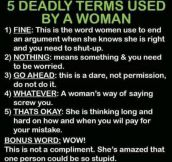 Five deadly words used by a woman…