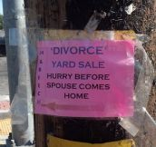 Divorce yard sale…