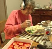 Grandma and her headphones…