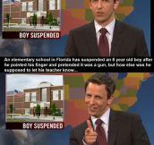 Little boy suspended…