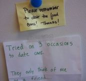 On the fridge at work…