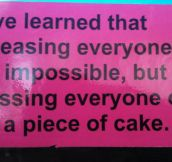 Pleasing everyone is impossible…