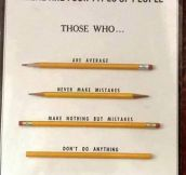Types of people illustrated with pencils…