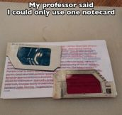Only one note card…