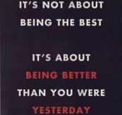 It's not always about being the best…