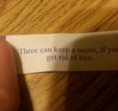 Creepy fortune cookie…