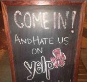 Bar owner has great sense of humor…