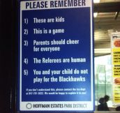 All kids' sports facilities should have this sign…