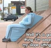 Slope-sitting suit…