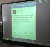 That moment you find out your teacher reads your tweets…