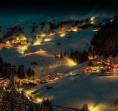 Amazing winter night in Damüls, Austria