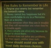 FIVE RULES TO REMEMBER IN LIFE.