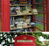 Red telephone boxes turned into mini libraries