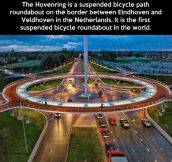 The first suspended bicycle roundabout