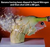 Banana shot in slow motion…