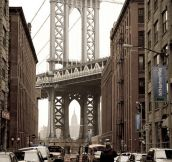 Buildings perfectly framing the Manhattan Bridge…