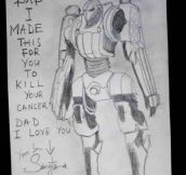 A little kid made this after he found out his dad has cancer…