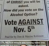 Response to small Texas town's alcohol option…