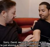 Ricky Gervais telling David Blaine like it is…