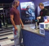Today I saw Thor buying a ticket for Thor…