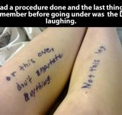 Doctor with a good sense of humor…