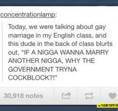 Gay marriage issues solved…