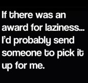 Award for laziness…
