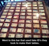 Fake ID table…