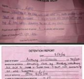 Best reasons to get detention…